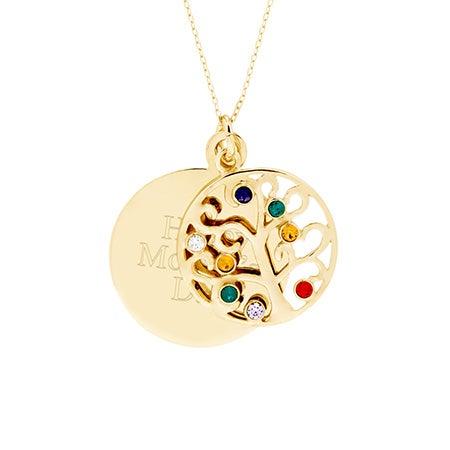 Engravable 8 Stone Gold Vermeil Birthstone Family Tree Pendant