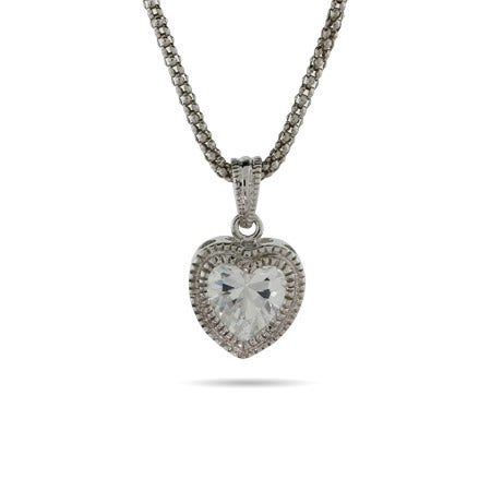 Sterling Silver Bezel CZ Heart Necklace with Milgrain Edging