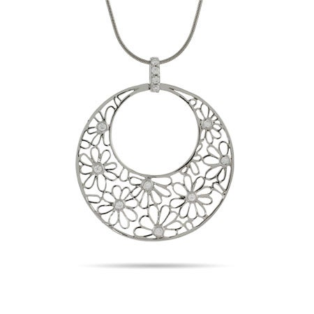 Sterling Silver Round Filigree Flower Pendant