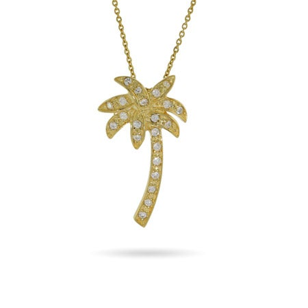 Gold Vermeil CZ Palm Tree Pendant | Eve's Addiction®