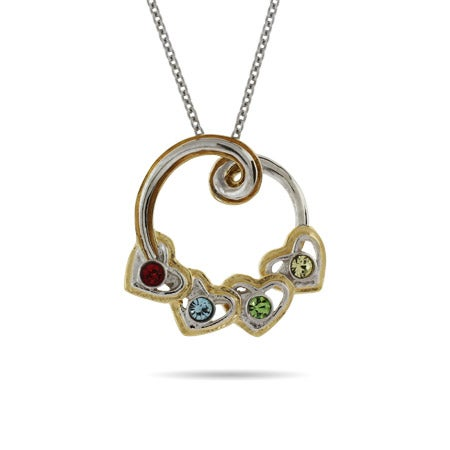 4 Stone Birthstone Austrian Crystal Hearts Necklace