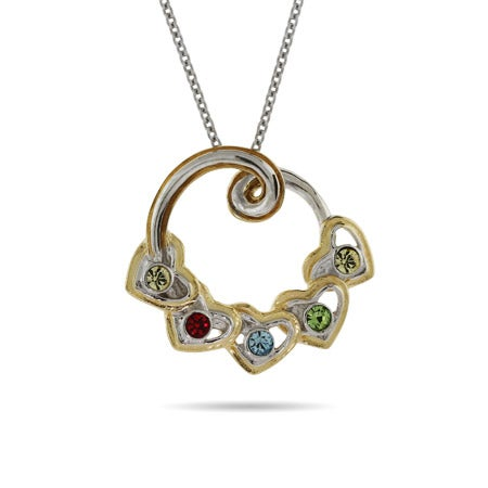 5 Birthstone Heart's Two Tone Pendant