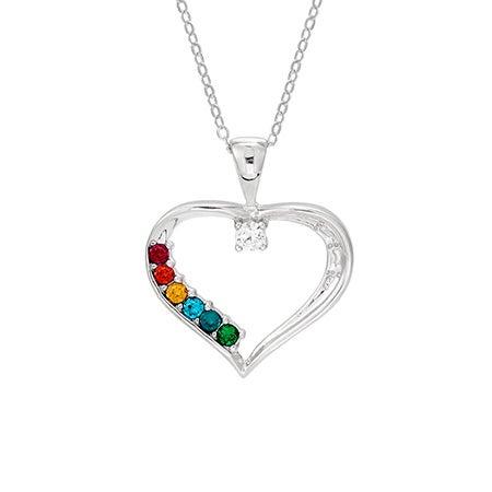 6 Birthstone Swarovski Crystal Mothers Heart Pendant