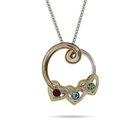 3 Stone Birthstone Two Tone Circle and Heart Necklace