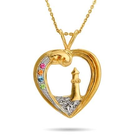 Custom 4 Birthstone Gold Vermeil Lighthouse Pendant