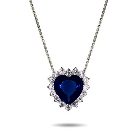 Movie Inspired Petite Heart of the Ocean Sapphire Heart Necklace