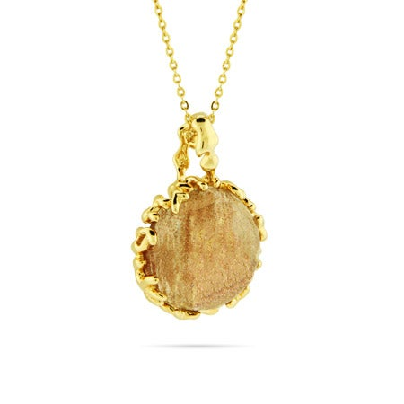Champagne Glass Pendant In Molten Vermeil Setting
