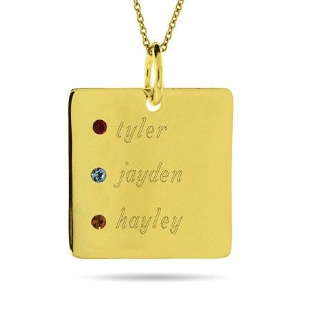 Engravable Gold Vermeil 3 Stone Square Pendant