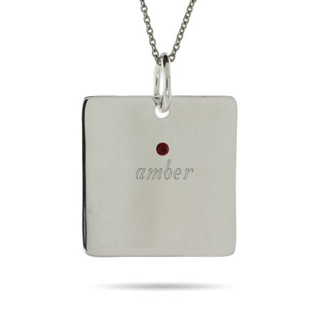 Engravable 1 Stone Sterling Silver Square Tag Pendant