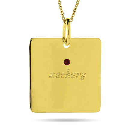 Engravable Gold Vermeil 1 Birthstone Square Charm Necklace