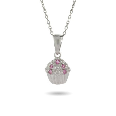 Pink CZ Silver Cupcake Necklace