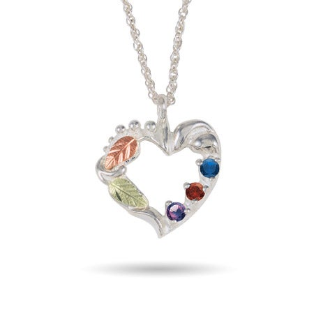 Black Hills Gold On Sterling Silver 3 Stone Genuine Birthstone Family Necklace
