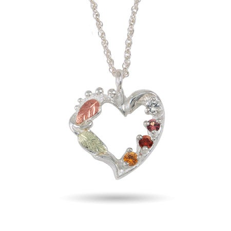 Black Hills Gold On Silver 4 Stone Birthstone Family Necklace
