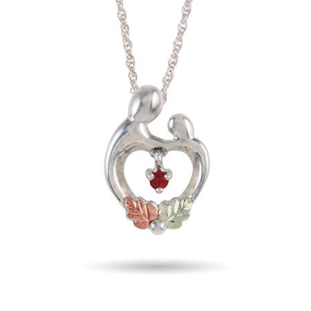 Black Hills Gold On Sterling Silver Mother and Child Heart Birthstone Necklace