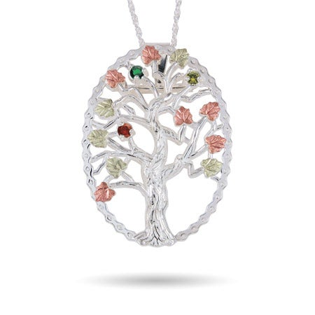 Black Hills Gold On Sterling Silver 3 Birthstone Family Tree Pendant