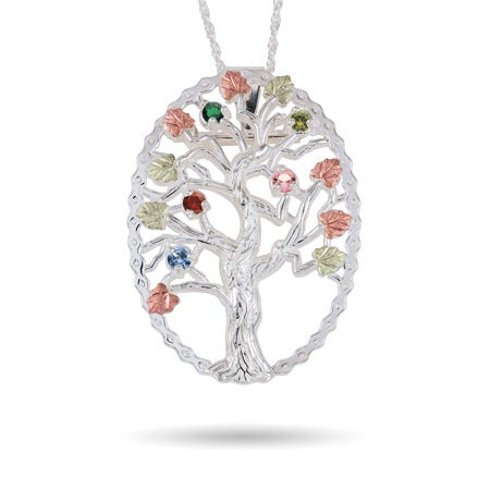 Sterling Silver 5 Birthstone Family Tree Pin-Pendant