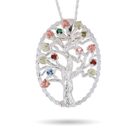 6 Stone Genuine Birthstone Family Tree Pin/Pendant