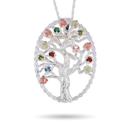 Sterling Silver 7 Stone Birthstone Family Tree Pin/Pendant
