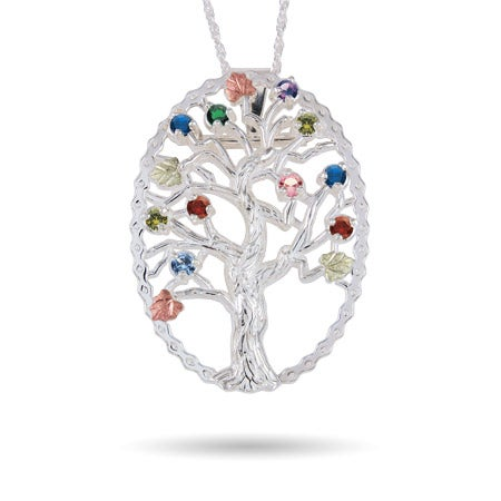 Black Hills Gold On Sterling Silver 10 Birthstone Family Tree Pin and Pendant