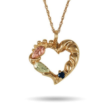 Black Hills Gold 10K Gold 1 Stone Genuine Birthstone Heart Necklace