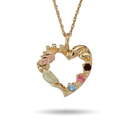 10K Gold 3 Stone Birthstone Heart Pendant