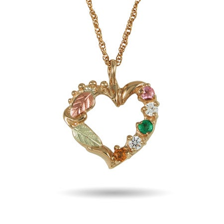 Black Hills Gold 10K Gold 5 Stone Genuine Birthstone Heart Pendant