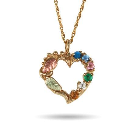 Black Hills Gold 10K Gold 6 Stone Genuine Birthstone Heart Pendant