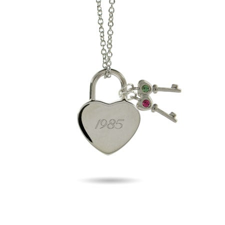 Engravable Locked Heart with 2 Birthstone Keys