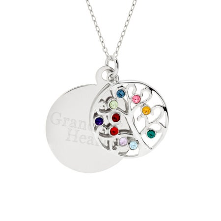 Engravable 10 Stone Family Tree Birthstone Pendant
