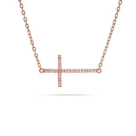 Rose Gold Sideways CZ Cross Necklace