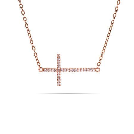 Rose Gold Sideways CZ Cross Necklace