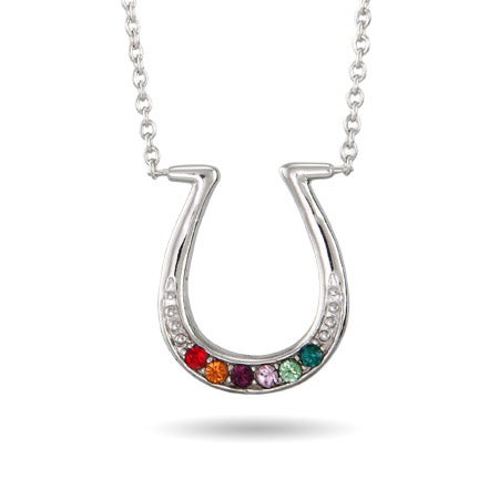 6 Stone Custom Birthstone Sterling Silver Horseshoe Necklace