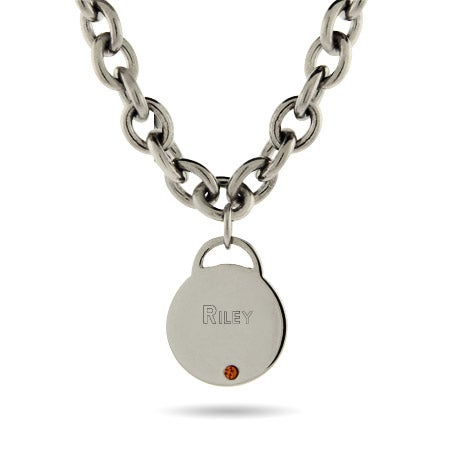 Engravable Stainless Steel Birthstone Round Tag Necklace