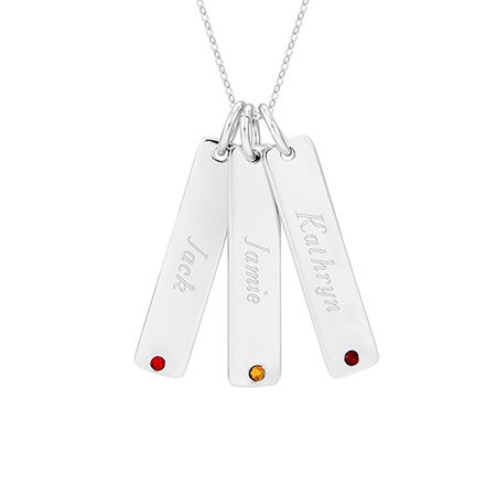 Engravable Silver Three Birthstone Tag Pendant