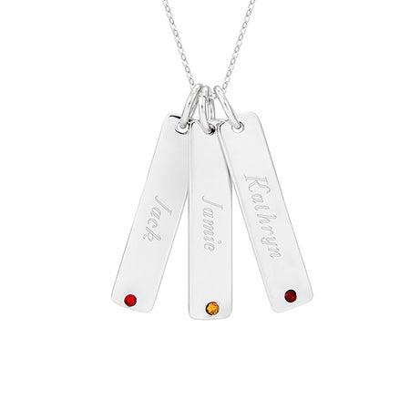 Engravable Silver Three Birthstone Tag Pendant