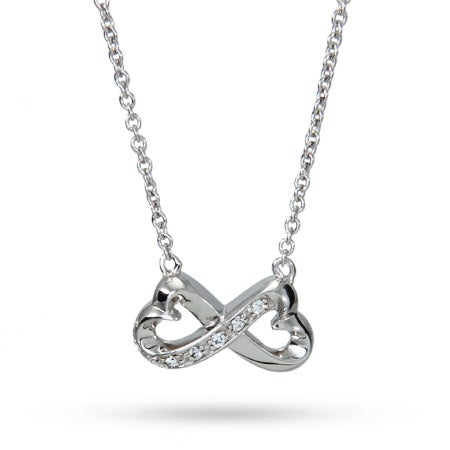 Sterling Silver CZ Infinity Heart Necklace