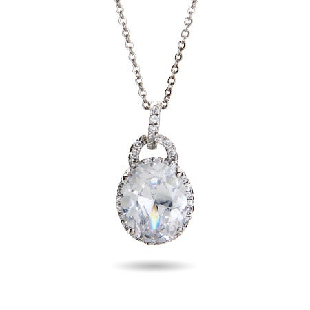 4 Carat Oval Cut Solitaire Crown Set Pendant