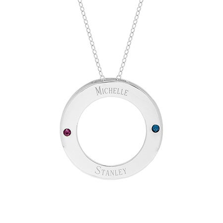 Two Birthstone Engravable Family Circle Necklace | Eve's Addiction