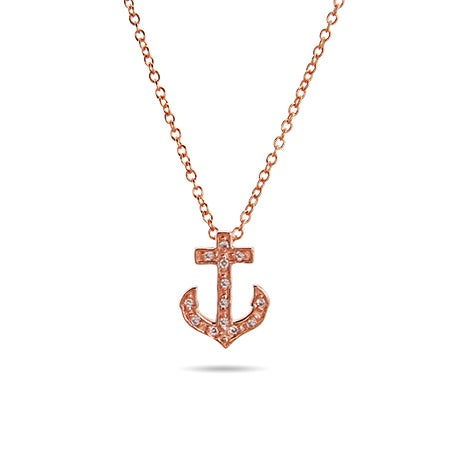 Rose Gold CZ Petite Anchor Pendant | Eve's Addiction®