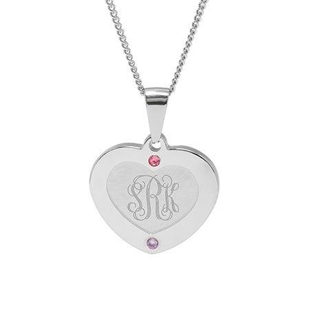 2 Stone Engravable Monogram Heart Birthstone Pendant