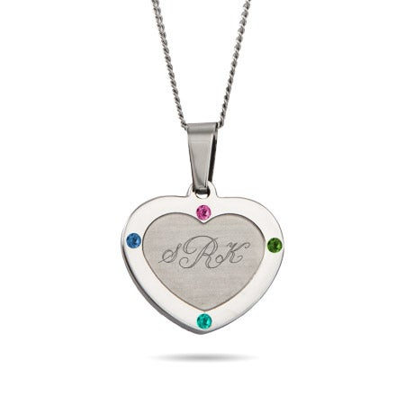 4 Stone Engravable Monogram Heart Necklace