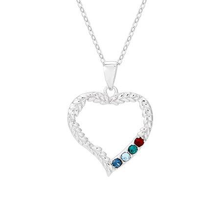 4 Stone Birthstone Vine Design Heart Mother's Necklace