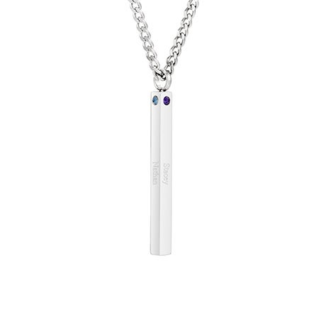 Engravable 4 Stone Stainless Steel Tag Pendant | Eve's Addiction