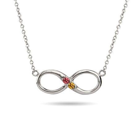Custom 2 Birthstone Infinity Necklace | Eve's Addiction