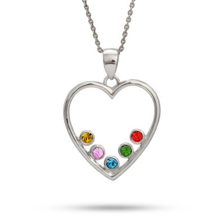 5 Stone Sterling Silver Birthstone Heart Necklace