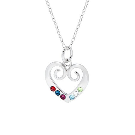 Custom 6 Birthstone Sterling Silver Heart Pendant| Eve's Addiction