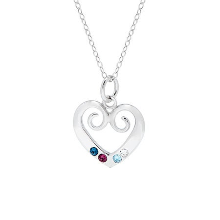 4 Birthstone Sterling Silver Custom Vintage Heart Pendant