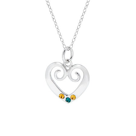 Vintage Inspired Three Birthstone Heart Necklace | Eve's Addiction