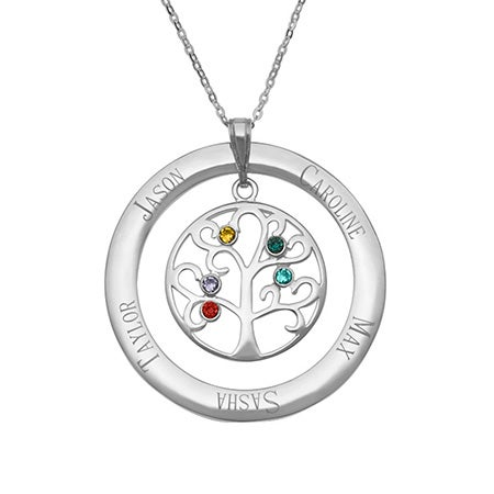 5 Birthstone Personalized Crystal Family Tree Necklace | Eve's Addiction®