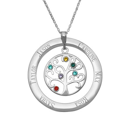 Engraved 6 Birthstone Family Tree Pendant | Eve's Addiction®